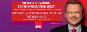 """Veranstaltungshinweis """"Vielfalt ist Stärke - echte Integration jetzt!"""" am Mittqwoch, d. 4.9.2013 um 19 Uhr im Bürgerhaus in Bad Oldesloe"""
